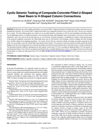 32.Cyclic Seismic Testing of Composite Concrete-Filled U-Shaped Steel